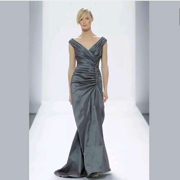 Tadashi Shoji Dresses   Beaded Side Ruching Evening Dress   Poshmark